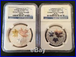 2016 NGC PF70 ER CANADA REVERSE PROOF SILVER 5 COIN GILT MAPLE LEAF SET BLUE