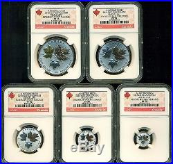 2016 NGC PF70 ER CANADA REVERSE PROOF SILVER MAPLE LEAF 5 COIN FRACTIONAL SET