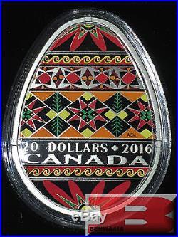 2016 Traditional Ukrainian Pysanka $20 COIN PURE SILVER Canada Egg Shaped 1 Oz