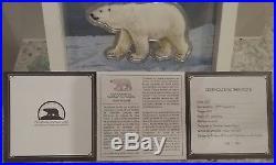 2017 100-gram Pure Silver Proof-like Iconic Polar Bear Canada, Mintage 1867