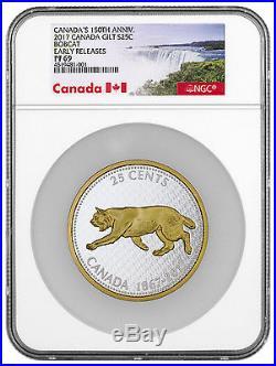 2017 Canada 25c 5 Oz Gilt Silver Big Coin Series Bobcat NGC PF69 ER SKU45006