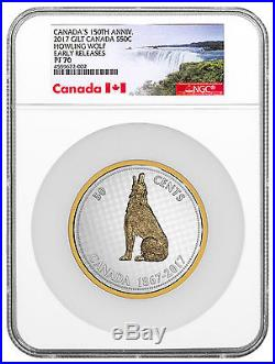 2017 Canada Big Coin Colville Howling Wolf 5 oz Silver Gilt NGC PF70 ER SKU48231