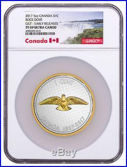 2017 Canada Big Coin Colville Rock Dove 5 oz Silver Gilt NGC PF69 UC ER SKU49092