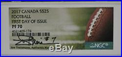 2017 Canada Football NGC PF70 FDOI Joe Theismann Signed Silver Football 01DUD