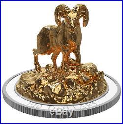 2017 Canada Sculpture Bighorn Sheep 10 oz. Silver Gilt Proof $100 OGP SKU47935