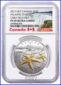 2017 Canada Sea Atlantic Starfish 1 oz Silver Gilt $20 NGC PF69 UC ER SKU49408