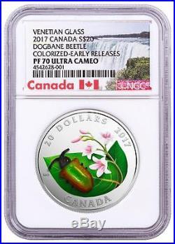 2017 Canada Silver $20 Venetian Glass Dogbane Beetle PF70 UC ER NGC Coin