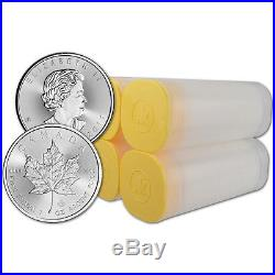 2017 Canada Silver Maple Leaf 1 oz $5 4 Rolls 100 Coins in 4 Mint Tubes