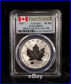 2017 Canada Silver Maple Leaf PCGS PR70 FS 150th Anniversary Privy Reverse Proof