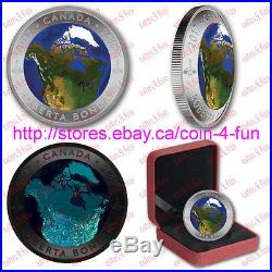 2017 Glow-In-The-Dark A View of Canada From Space $25 Silver Convex Coin