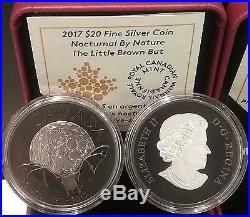 2017 THE BAT Canada Nocturnal Nature $20 1OZ Pure Silver Coin, Black Rhodium