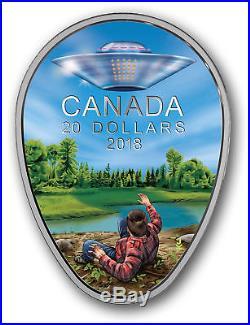 2018 $20 Canada UFO Unexplained Phenomena Falcon Lake Glow in Dark Silver Coin