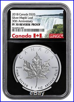 2018 Canada 1 oz Silver Maple Leaf Incuse Reverse Proof $20 NGC PF70 BC SKU54327