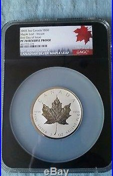 2018 Canada $50 3oz Silver Maple Leaf INCUSE Reverse Proof NGC PF70 FDOI