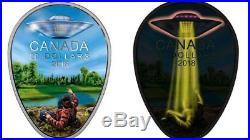 2018 Canada UFO Falcon Lake Incident Glow in the Dark $20 1oz Silver Proof Coin