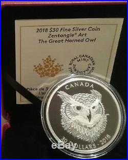 2018 Great Horned Owl Zentangle Art $30 2OZ Silver Proof Coin Canada Mintage4000