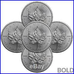 2018 Silver 1 oz Canada Maple Leaf (5 Coins)