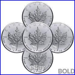 2018 Silver 1 oz Canada Maple Leaf Dog Privy Reverse Proof (5 Coins)