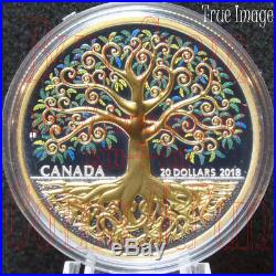 2018 Tree of Life 1 OZ $20 Pure Silver Selective Gold-Plated Proof Coin Canada