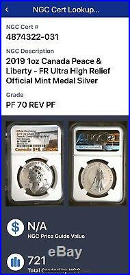 2019 1Canada Silver Peace & Liberty Ultra High Relief First Release PF 70 REV PF