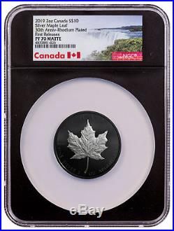 2019 Canada 2 oz Silver Maple Leaf Rhodium Plated $10 NGC PF70 FR Black SKU55658