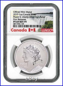 2019 Canada Peace & Liberty UHR 1oz Silver Reverse PF Medal NGC PF69 FR SKU55508