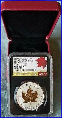 2019 Gilt Canada $20 40TH Anniv GML Incuse PF70 REV Proof FIRST DAY OF ISSUE