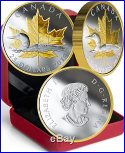 2019 Iconic Piedfort $25 1OZ Silver Proof GoldPlated Coin Canada Loon Maple Leaf