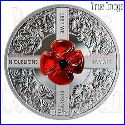 2019 Lest We Forget Venetian Murano Glass Poppy $20 Pure Silver Coin Canada