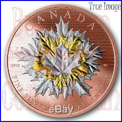 2019 Maple Leaves in Motion $50 5 OZ Pure Silver Rose Gold Plated Coin Canada