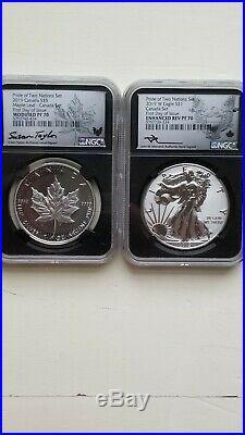 2019 Pride Of Two Nations 2 Coin Silver Set PF70 FDI CANADA SET- RARE