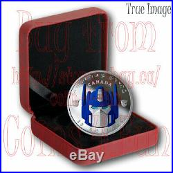 2019 TRANSFORMERS OPTIMUS PRIME with GLOW EYES $25 Pure Silver Proof Coin Canada
