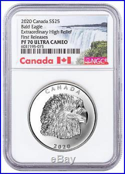 2020 Canada 1 oz Silver Canadian Eagle Extraordinary High Relief NGC PF70 UC FR