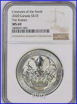 2020 Canada 2 oz Silver Creatures of the North Kraken