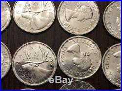5x 1963 Canada Silver Quarter Rolls Uncirculated PL BU Coin $50 Face @ Melt $
