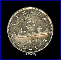 Canada 1947 Silver Dollar -blunt 7- Near Gem Uncirculated Scarce This Nice