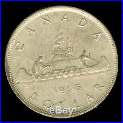 Canada 1948 Silver Dollar Near Gem Uncirculated Rare! Key Date