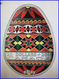 CANADA 2016 $20 Ukrainian Pysanka (Egg-Shaped) Fine Silver Coin