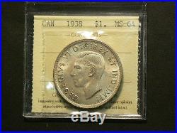Canada 1938 Silver Dollar, ICCS MS 64 #4592