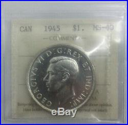 Canada 1945 RP 5 Double HP Silver Dollar MS60 ICCS Scarce Variety Old 2 Letter