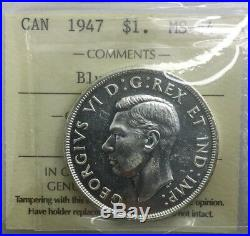 Canada 1947 Blunt 7 Silver Dollar MS64 ICCS Near GEM Original Coin George VI