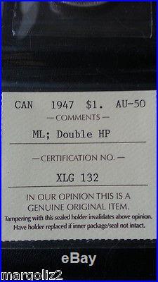 Canada 1947 SILVER DOLLAR MAPLE LEAF-DOUBLE HP Certified AU-50 KEY DATE