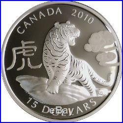 Canada 1 oz $15 Round Fine Silver Coin Lunar Zodiac Year of the Tiger (2010)