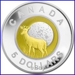 Canada 2011 $5 Full Buck Moon Proof 1/4 Oz Silver Coin with Niobium