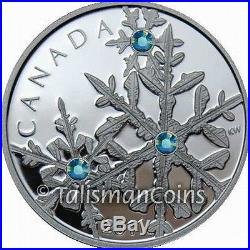 Canada 2011 Snowflake $20 Pure Silver Proof with MONTANA Blue Swarovski Crystals