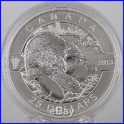 Canada 2013 $25 Beaver 1 Troy Oz. 99.99% Pure Silver Proof, O Canada Series #1