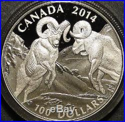 Canada 2014 $100 Bighorn Sheep. 9999 1 oz silver coin Wildlife in Motion series