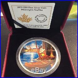 Canada 2015 $30 2oz Fine Silver Coin Moonlight Fireflies RCM COA