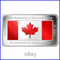 Canada 2015 $50 Fine Silver Coin 50th Anniversary of Canadian Flag Low Mintage