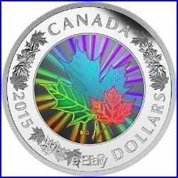 Canada 2015 50$ MAPLE LEAF Hologram 5 Oz Silver Coin Lustrous Maple Leaves RAR